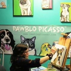 Melissa King, aka Pawblo Picasso, describes herself as a huge advocate for live painting - she encourages onlookers to ask questions and watch her work. Pawblo will have prints of all kinds for sale at her Joy Street Studios location. #somervilleopenstudios  (at Joy street studios)