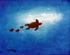 "Sea Turtle painting, ""Come Follow Me"" $175"
