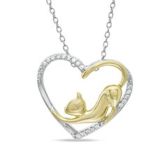 ASPCA® Tender Voices™ 1/10 CT. T.W. Diamond Stretching Cat Pendant in Sterling Silver and 10K Gold Plate - Zales