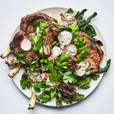 Pork Chops with Radishes and Charred Scallions