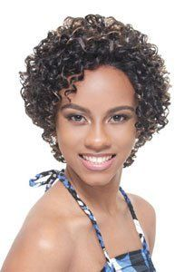 Synthetic Full Lace NICKY wig by Janet Collection-color-4 by JANET COLLECTION. $59.99. Style: Small tight curls, no bang.. Lace on front (from ear to ear) and on back.. Can be parted on any side at the front.. Length: Short wig.. Janet Collection wig (Black pearl series). Made of premium synthetic hair.