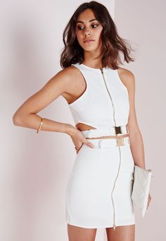 Missguided - Buckle Cut Out Crop Top White