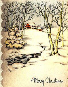 Vintage-Christmas-Card-House-Trees-Snow-Winter-Scene