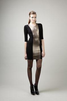 Mason Copper Long-Sleeve Leather Inset Dress