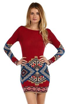 ETHNIC PRINT KNIT BODYCON DRESS- Red