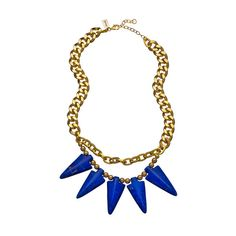 K. Amato Blue and Gold Spiked Choker Necklace ❤ liked on Polyvore