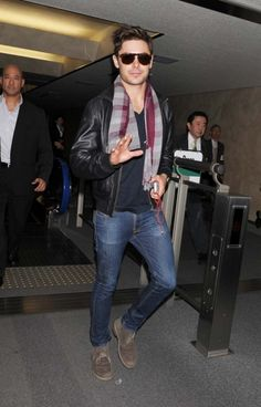 Zac Efron in denim, scarf and leather jacket #celebrity #style #fashion