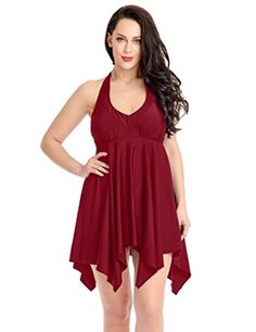 0c68ceae29 ACKKIA Women s Plus Size Burgundy Halter Top High Waist Bottom Two Pieces  Bathing Suit Size XXX