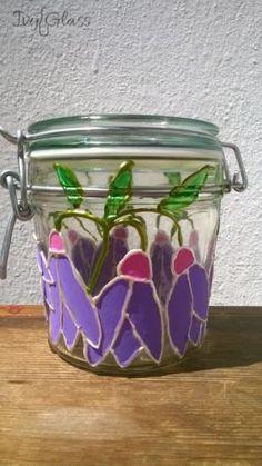 Ręcznie malowany szklany słoik - Fiołki