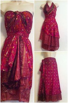"New Magic Wrap Dress Skirt OS Vintage Indian Silk Pink Red Maxi Full 36"" Sari 