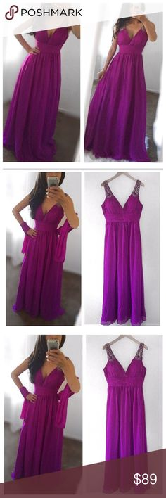 """Raspbery Gown Dress Retails$360. Worn once. Excellent condition. Beautiful long dress size 10. Shoulders have rhinestones adding a touch sophistication. Beautiful color, pashmina on same color is included. Dimensions: bust: 18.5"""", waist: 15.5"""", length from shoulders: 59"""". Padded bust, back zipper, lined, 100% polyester. Bundle and save on shipping. Dresses Prom"""
