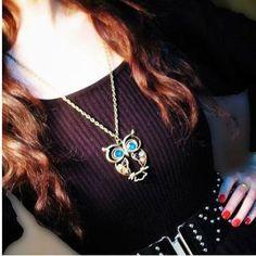 Vintage Style Lifelike Owl Shape Openwork Carving Necklace Necklaces | RoseGal.com Mobile