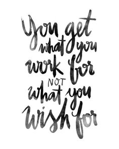 Work Wish Ink Brushed Black White Calligraphic Handlettered Handlettering…