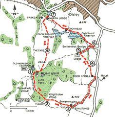 Peaks_Walks_Map16.gif Lyme Park, Walking Routes, Peak District, Derbyshire, Hiking Maps, Road Trip, Places To Visit, Cornwall, Caravan