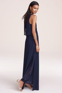 Navy Maxi Dress With Lace Detail from Next