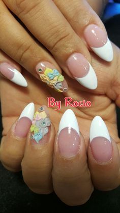 French tip acrylic nails with 3D nail art by Rocio !