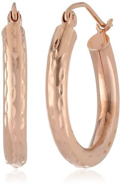 14k Rose Gold 3mm Diamond-Cut Hoop Earrings >>> You can find valentines gift ideas by visiting the image link.