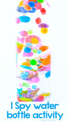I spy sensory water bottle craft that kids will love to help make and then play with! - Design Dazzle