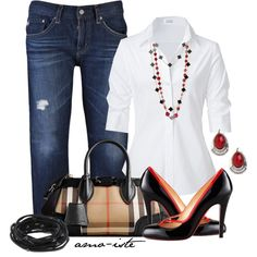 Office Style (Her): Crisp white shirts and dark denim were made for Casual Friday.