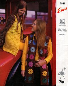 1970 Granny Square Sleeveless Vest Jackets by PamoolahVintage