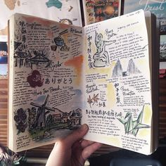 Inspiration for keeping a travel journal. Ideas and techniques for art journalin… Inspiration for keeping a travel journal. Ideas and techniques for art journaling, scrapbooking, or keeping a sketchbook while traveling Voyage Sketchbook, Travel Sketchbook, Arte Sketchbook, Sketch Journal, Journal Pages, Journal Ideas, Kunstjournal Inspiration, Sketchbook Inspiration, Creative Journal
