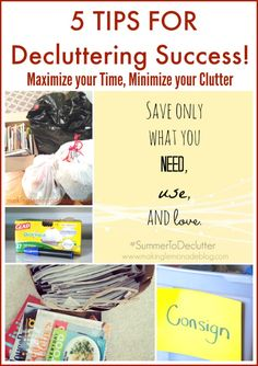 6 tips for decluttering-- super helpful ideas for clearing out your home, plus FREE printable decluttering calendars to use this summer! Organize Your Life, Organizing Your Home, Organising, Organizing Ideas, Cleaning Solutions, Cleaning Hacks, Storage Solutions, Clutter Control, Life Hacks