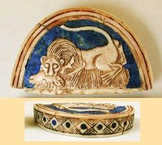 Lid of a small cosmetic box: belonging to Queen Pu-abi. It depicts a lion attacking a ram.  From Royal Tombs of Ur