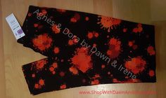 Zombie slayers and paint ball warriors! These are all about you! Agnes & Dora Legging / Oh Splat!! / Black background with red splats - various shades / Adult Size S/M fits size 4-12
