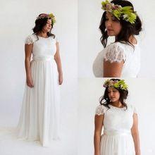 Bohemia playa vestido de boda de manga corta 2016 del cordón del Vintage vestidos de Novia de gasa vestido de boda de Boho Vestidosde Novia(China (Mainland))