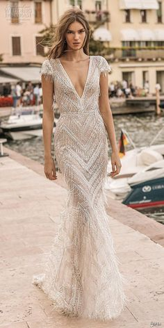 Berta Privée 2019 Wedding Dress Collection berta 2019 privee bridal cap sleeves deep v neck full embellishment glitzy elegant fit and flare wedding dress backless v back medium train lv -- Berta Privée 2019 Wedding Dresses V Neck Wedding Dress, Fit And Flare Wedding Dress, Backless Wedding, Gorgeous Wedding Dress, Fringe Wedding Dress, Gatsby Wedding Dress, Beaded Fringe Dress, Wedding Reception, Art Deco Wedding Dress