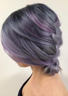 Dark gray and lilac hair.