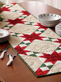 Seasonal Stars table runner quilt pattern at Fons and Porter