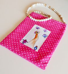Bag for little girl. Adorable fabric pouch. Pouch by RossoViola, €12.00