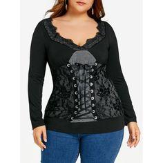 Plus Size Low Cut Lace Up Top - Black Xl Mobile