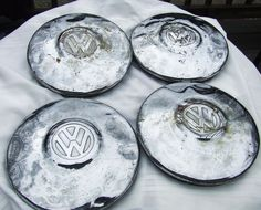 Vintage #VW HUB CAPS #Hubcaps--some minor dents & rust inside 10 inch Set of 4  veedub hubcaps# these are original parts and now for sale on ebay...search ebay for item number 351269459942