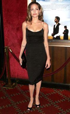 Angelina Jolie in a Little Black Dress   Little black dress fashion   #LBD #fashion #party #glam  Accessorize your Little Black Dress with www.TsAccessories2You.com.