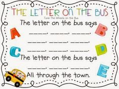My Fabulous Class: The Letters on the Bus and Introducing Centers