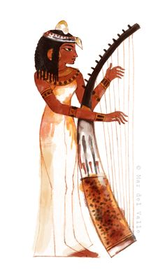 "Illustration by Mar del Valle for the young adult novel ""Rumbo a Thuban"" written by Susana Fernández Gabaldón, third part of ""Mas allá de las tres dunas"".  { Ancient Egypt Egyptian Egyptians Nile craftsmen wall painting art flora fauna artisan gods History historical art princess harp harpist musician music }"