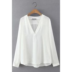 Yoins V-neck High Low Hem Blouse (250 MXN) ❤ liked on Polyvore featuring tops, blouses, shirts & tops, white, long-sleeve shirt, v neck blouse, v-neck tops, white v neck blouse and long sleeve tops