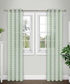 Look at this #zulilyfind! Sage Plaid Grommet Sheer Curtain Panel - Set of Two #zulilyfinds
