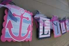 Nautical Themed Party - Anchor - Nautical Name Banner - Nautical Girl Birthday - Nautical Baby Shower - Navy - Pink - White on Etsy, $20.00