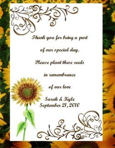 #Sunflower Seed Favors $2.00 each   www.PartyFavorWebsite.com