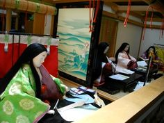 A bevy of Heian ladies (possibly including Lady Murasaki) making books... perhaps copies of The Genji.
