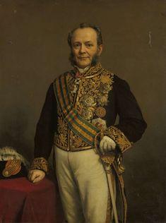 Portret van Pieter Mijer (1812-81). Gouverneur-generaal (1866-71).  Onderdeel van een reeks van portretten van de gouverneurs-generaal van het voormalige Nederlands Oost-Indië. 1874