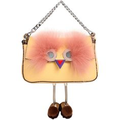 Fendi Women Micro Baguette Faces Leather Bag W/ Fur (6,990 SAR) ❤ liked on Polyvore featuring bags, handbags, shoulder bags, yellow, yellow leather purse, red leather shoulder bag, genuine leather handbags, fendi purse and red leather handbags