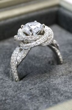 Custom diamond platinum twist engagement ring. Glamorous and unique. We'll make the ring of your dreams, down to the last detail! Click to browse 1000+ designs. Joseph Jewelry | Bellevue | Seattle, WA | Designers of Fine Custom Jewelry