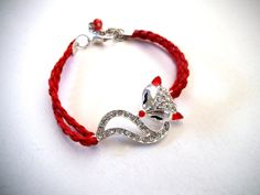Foxy Lady Bracelet, Silver and Rhinestone Fox Bracelet with Red Faux Braided Leather, Silver and Red Jewelry, Animal Jewelry