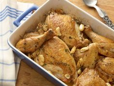 40 Cloves and a Chicken recipe from Alton Brown via Food Network- replace oil with chicken broth or white wine