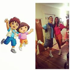 Dora and Diego: A super fun and easy DIY Halloween costume for couples. Dora Halloween Costume, Dora Costume, Two Person Halloween Costumes, Creative Halloween Costumes, Halloween Kostüm, Halloween College, Halloween Couples, Halloween Outfits, Clever Couple Costumes