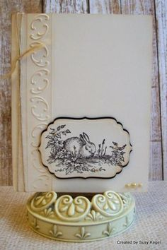 CAS262 Tender Toile Bunny by Boss - Cards and Paper Crafts at Splitcoaststampers